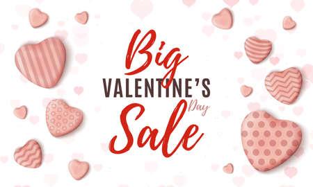 Big Valentines Day sale. Minimalistic web design template on white background.