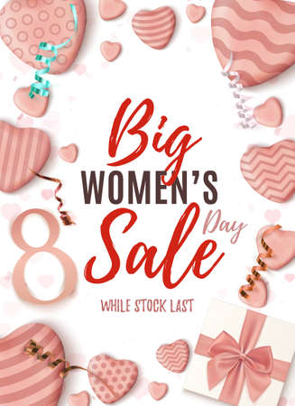Big Womens Day sale vertical poster. Abstract design template on white background.