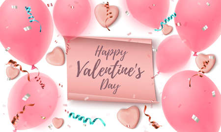 Happy Valentines Day greeting card template. Abstract background.