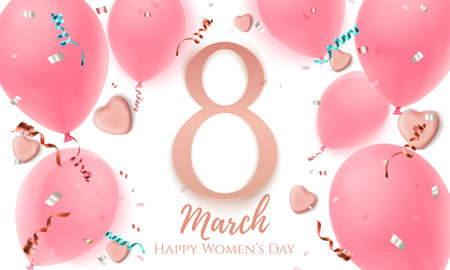 8 march, womens day greeting card with candy hearts.