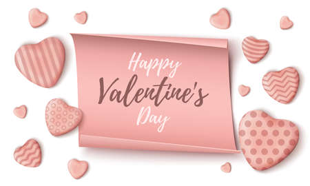 Happy Valentines Day background template on white background.