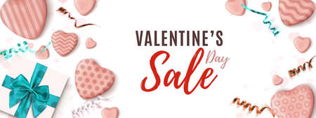 Valentines Day sale horizontal banner. Abstract minimalism wedsite header design.