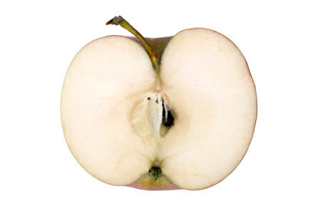 seasonal apple in the section with peduncle on a white background