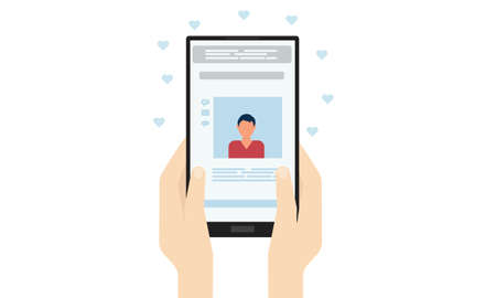 A woman looks at a man's profile on a dating site. Vector illustration.
