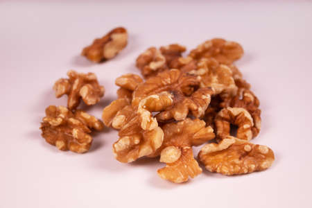 a bunch of peeled walnuts close up