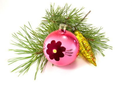 Christmas ornaments are isolated on a white background