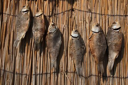 dry provisions: dry fish weighs a number of provisions of the straw rows Stock Photo