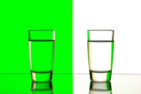 sulphide: two glasses are isolated on a green and white background