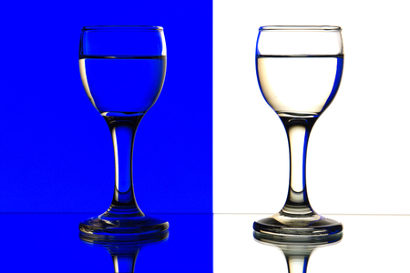 sulphide: two glasses are isolated on a blue and white background