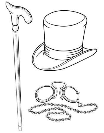 dessin au trait: set of retro accessories with hat walking stick and pince-nez point  illustration, isolated on white background