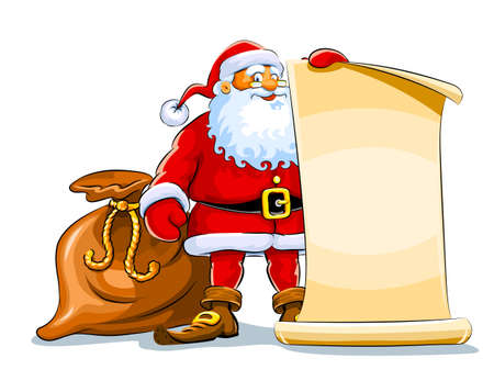 Santa Claus stehen und halten Scroll Papier hintergrund isoliert auf weißem Hintergrund
