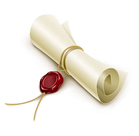 scroll paper with seal of sealing wax illustration isolated on white background gradient mesh used