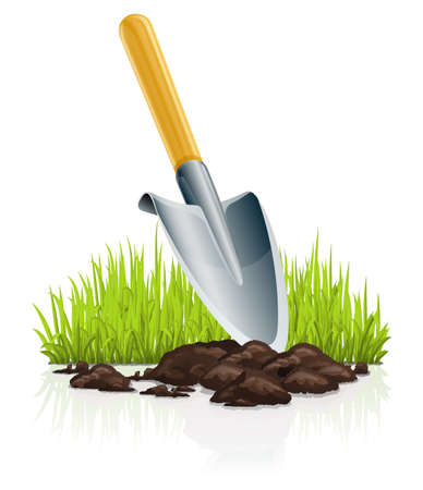 garden scoop and grass illustration isolated on white background