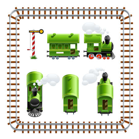 green vintage locomotive with coach set vector illustration isolated on white background