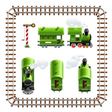 szynach: zielony rocznika lokomotywy z ilustracja trener wektor na białym tle