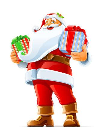 Kerstman met gift vector illustratie geïsoleerd op witte achtergrond