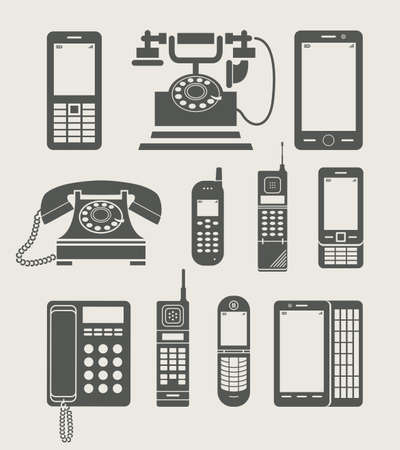 old phone: phone set simple icon vector illustration