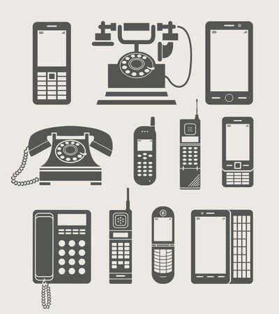 vintage telefoon: telefoon in te stellen eenvoudige pictogram vector illustratie