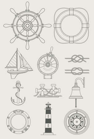 ship porthole: sea ship set icon vector illustration
