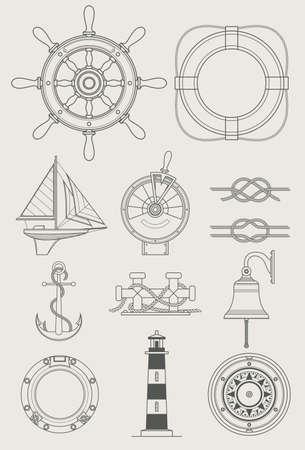 Seeschiff Satz Symbol Vektor-Illustration