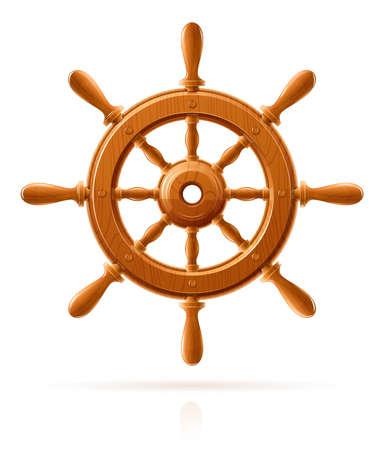 timone: ruota di nave della marina in legno illustrazione vettoriale d'epoca isolato su sfondo bianco Vettoriali