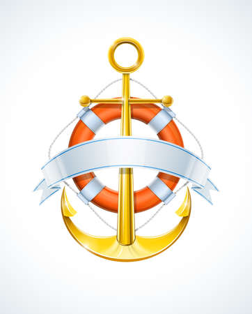 anchor and life buoy with ribbon vector illustration Illustration