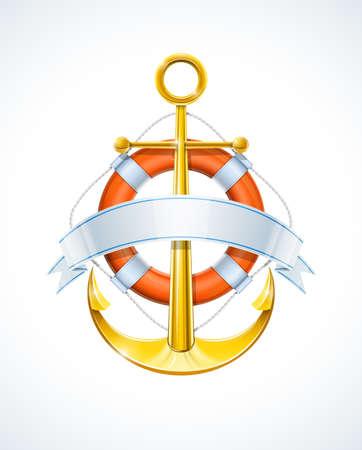 beach buoy: anchor and life buoy with ribbon vector illustration Illustration