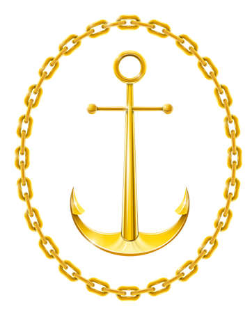 anchor with chain as frame vector illustration isolated on white background