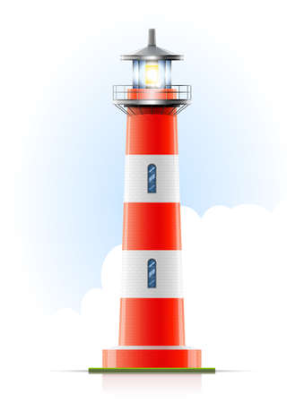 Lighthouse: lighthouse marine signal vector illustration