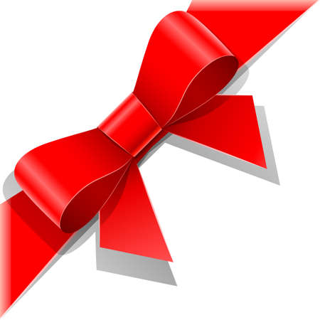 red bow with ribbon vector illustration isolated on white background. Transparent objects used for shadows and lights drawing