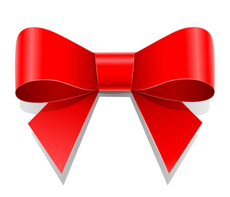 red bow vector illustration isolated on white background. Transparent objects used for shadows and lights drawing Vettoriali
