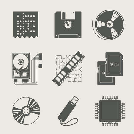 storage device: storage information set of icon vector illustration