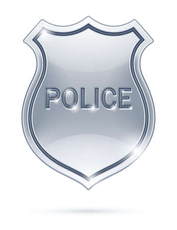police badge vector illustration isolated on white background EPS10. Transparent objects used for shadows and lights drawing Vettoriali