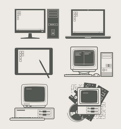 old pc: computer new and old set icon vector illustration Illustration