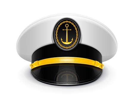 ancre marine: capitaine a atteint un sommet avec l'illustration de bouchon cocarde isol� sur fond blanc. Les objets transparents utilis�s pour les ombres et les lumi�res de dessin