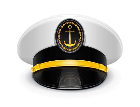 work boat: captain peaked cap with cockade illustration isolated on white background. Transparent objects used for shadows and lights drawing