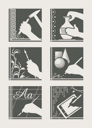 set van kunst bezetting vector illustratie