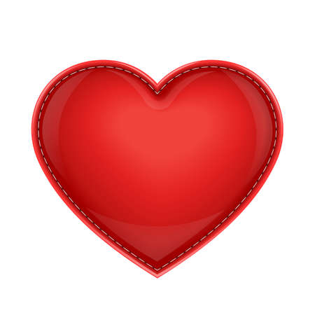 red leather pillow as heart vector illustration isolated on white background. Transparent objects used for shadows and lights drawing Stock Vector - 12099472
