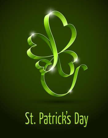 聖パトリックの日ベクター イラスト用、緑のクローバー。