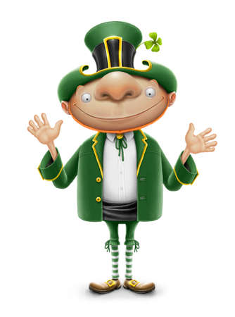 leprechaun hat: saint patrick elf leprechaun isolated on white background Stock Photo