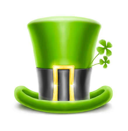 saint patrick's hat with clover isolated on white background Stock Photo - 12328984