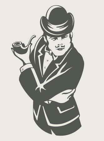persona fumando: el hombre en traje retro con la ilustraci�n vectorial tuber�a