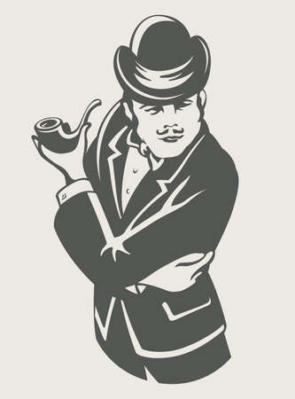 bowler hat: retro man in suit with pipe vector illustration Illustration