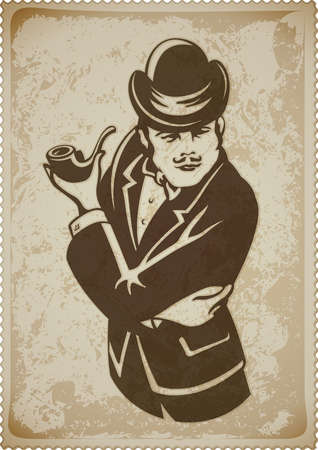 retro man in suit with pipe vector illustration Vettoriali