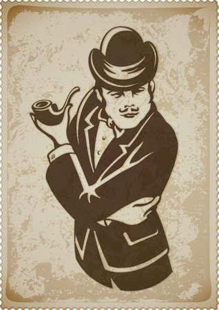 pipe smoking: Retro Mann in Anzug mit Rohr Vektor-Illustration