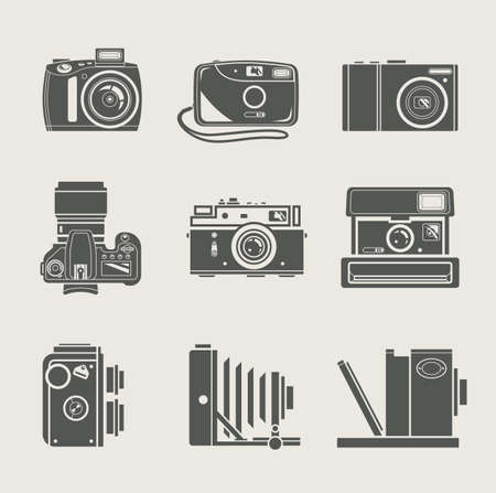 reflex: nuova macchina fotografica e retr� illustrazione vettoriale icona