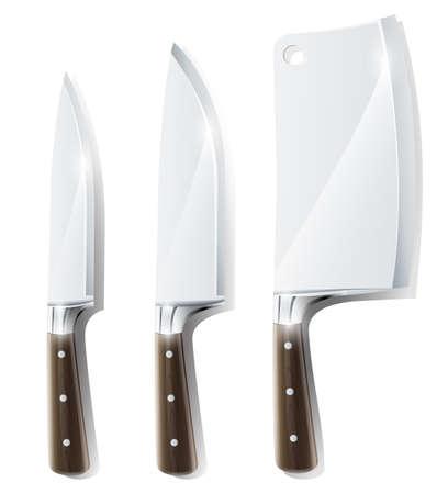 キッチン ナイフ ベクトル図は白い背景で隔離のセットです。