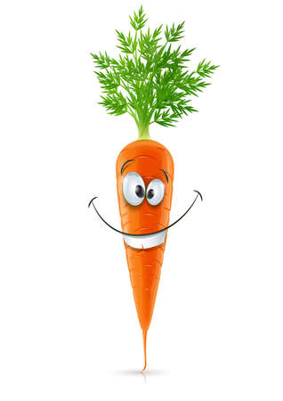 nutrition and health: smiling carrot with top carrot with top vector illustration isolated on white background