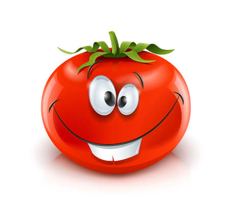 ration: smiling red ripe tomato red ripe tomato vector illustration isolated on white background gradient mesh used