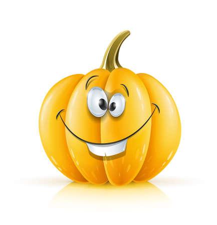 gourds: smiling ripe orange pumpkin vector illustration isolated on white background